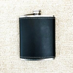 Black leather & stainless steel flask